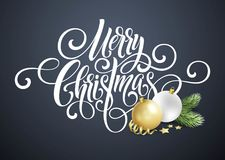 Merry Christmas handwriting script lettering. Greeting background with a Christmas tree and   decorations. Vect. Or illustration EPS10 Stock Images