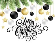 Merry Christmas handwriting script lettering. Greeting background with a Christmas tree and decorations. Vector Stock Photos