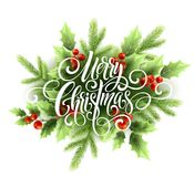 Merry Christmas handwriting script lettering. Christmas greeting card with holly. Vector illustration. EPS10 Royalty Free Stock Image