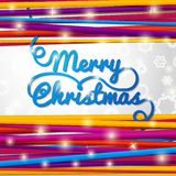 Merry Christmas handwritten blue swirl lettering Royalty Free Stock Photos