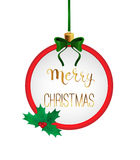 Merry christmas handwritten calligraphy in round frame. Bauble like Royalty Free Stock Photo
