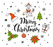 Merry christmas handwritten hand drawn background with xmas items. Tree gift box santa hat holly poinsettia flower ball and cute funny dog Stock Image