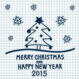 Merry Christmas. Handwritten Merry Christmas and Happy New Year 2015 card  illustration Royalty Free Stock Images