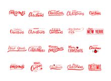 Merry christmas insignia and labels for any use. Merry christmas handwritten icons for your design Stock Image