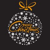 Merry Christmas handwritten lettering. Golden text with white snowflakes in shape of Christmas ball isolated on black. Background. Christmas holidays typography royalty free illustration