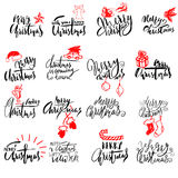 Merry Christmas handwritten lettering. Typographic emblems set. Vector logo, text design. Usable for banners, greeting Stock Photography
