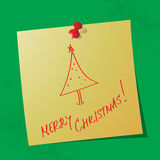 Merry christmas handwritten message. On sticky paper, eps10 vector illustration royalty free illustration