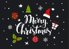 Merry christmas handwritten text with xmas decoration as santa claus hat, gift box, pine tree, ball, holly, poinsettia flower. On black background with stars Royalty Free Stock Images
