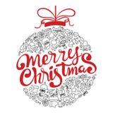 Merry Christmas handwritten typography. stock illustration