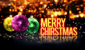 Merry Christmas Hanging Baubles Yellow Bokeh Beautiful 3D royalty free stock image