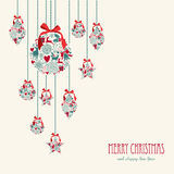 Merry Christmas hanging elements decoration compos. Merry Christmas hanging decoration elements baubles composition. Vector file organized in layers for easy