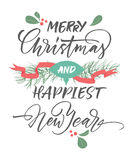Merry Christmas and happiest New Year greeting card with Christmas decorations. Stock Images