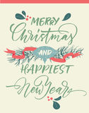 Merry Christmas and happiest New Year greeting card. With Christmas decorations Stock Photography