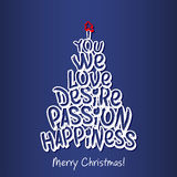 Merry Christmas Happiness Greeting Card. Blue. Royalty Free Stock Photos