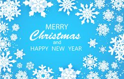 Free Merry Christmas Happy And New Year Greetings Card. White Snow Flake. . Winter Snowflakes Background Royalty Free Stock Image - 131798906