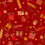 Merry christmas and happy birthday seamless background sketched elements Stock Images