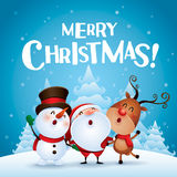 Merry Christmas! Happy Christmas companions Stock Photos