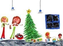Merry Christmas Happy Family!. Genuine Christmas Kid Art Drawn by a Genuine Kid Royalty Free Stock Photos