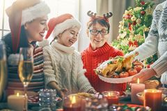 Family celebrates Christmas. Stock Photos