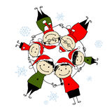 Merry christmas! Happy family illustration Royalty Free Stock Images