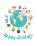 Merry christmas and happy hanukkah. global celebration. Vector illustration Royalty Free Stock Photos