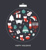Merry christmas and happy hanukkah. seasonal objects royalty free illustration