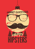 Merry Christmas, Happy Hipsters! Typographic retro grunge Christmas card. Vector illustration. Royalty Free Stock Image