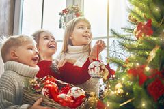 Children at Christmas Royalty Free Stock Images