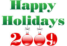 Merry Christmas and Happy Holidays 2009 Ornaments Royalty Free Stock Images
