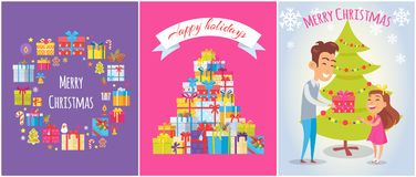 Merry Christmas and Happy Holidays Bright Banners. With gift boxes decorated with ribbon bows. Vector illustration father giving xmas gift to son Stock Photos