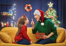 Mother and daughter exchanging gifts Royalty Free Stock Photo