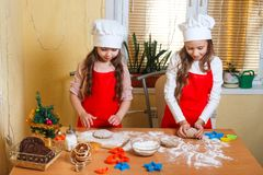 Merry Christmas and Happy Holidays. Family preparation holiday food. Two siaters cooking Christmas cookies. stock photography