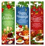 Merry Christmas vector dinner cuisine banners Royalty Free Stock Photos