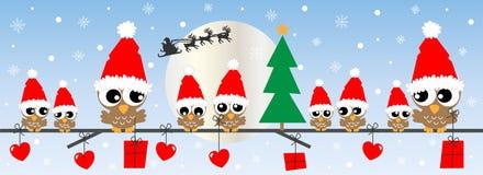 Owl Family On The Branch Christmas Banner Stock Vector ...
