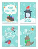 Merry Christmas Happy Holiday Vector Illustration. Merry Christmas and happy holidays let it snow, set of cards with images of hedgehog and penguin, bullfinches Royalty Free Stock Photos