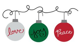 Merry Christmas Happy Holidays Ornaments. Hanging stock illustration