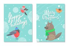 Merry Christmas and Happy Holidays 70s Postcard. With bullfinch in tiny hat and wolf in green scarf. Vector illustration with cute animals and snow Royalty Free Stock Photo