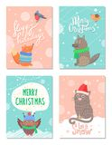 Merry Christmas and Happy Holidays 60s Postcards. With animals dressed in knitted hats, scarf or sweaters. Vector illustration with snowy xmas congratulation royalty free illustration
