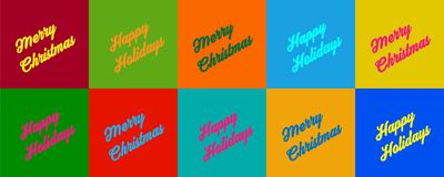 Merry Christmas and Happy Holidays in set of colored spaces Royalty Free Stock Image