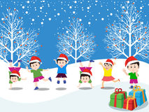 Merry christmas with happy kids  Stock Image