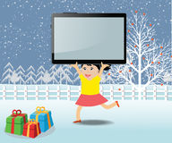 Merry christmas with happy kids and tablet Royalty Free Stock Photo