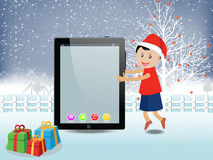 Merry christmas with happy kids and tablet Royalty Free Stock Photography