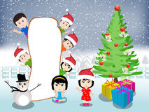 Merry christmas with happy kids vector Stock Photography