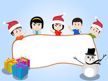 Merry christmas with happy kids vector Stock Image
