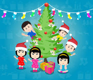 Merry christmas with happy kids vector Royalty Free Stock Photos