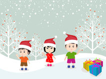 Merry christmas with happy kids vector Royalty Free Stock Photography