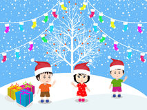 Merry christmas with happy kids vector Royalty Free Stock Images
