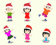Merry christmas with happy kids vector Stock Photo