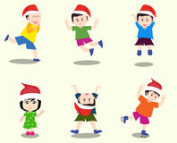 Merry christmas with happy kids vector Stock Photos