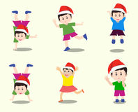 Merry christmas with happy kids vector Royalty Free Stock Image